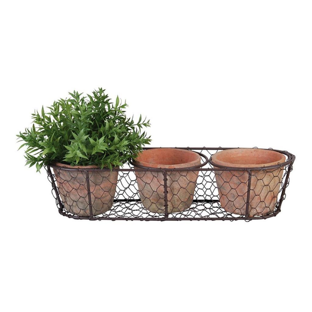 Produktové foto Set 3 terakotových květináčů a drátěného koše Esschert Design