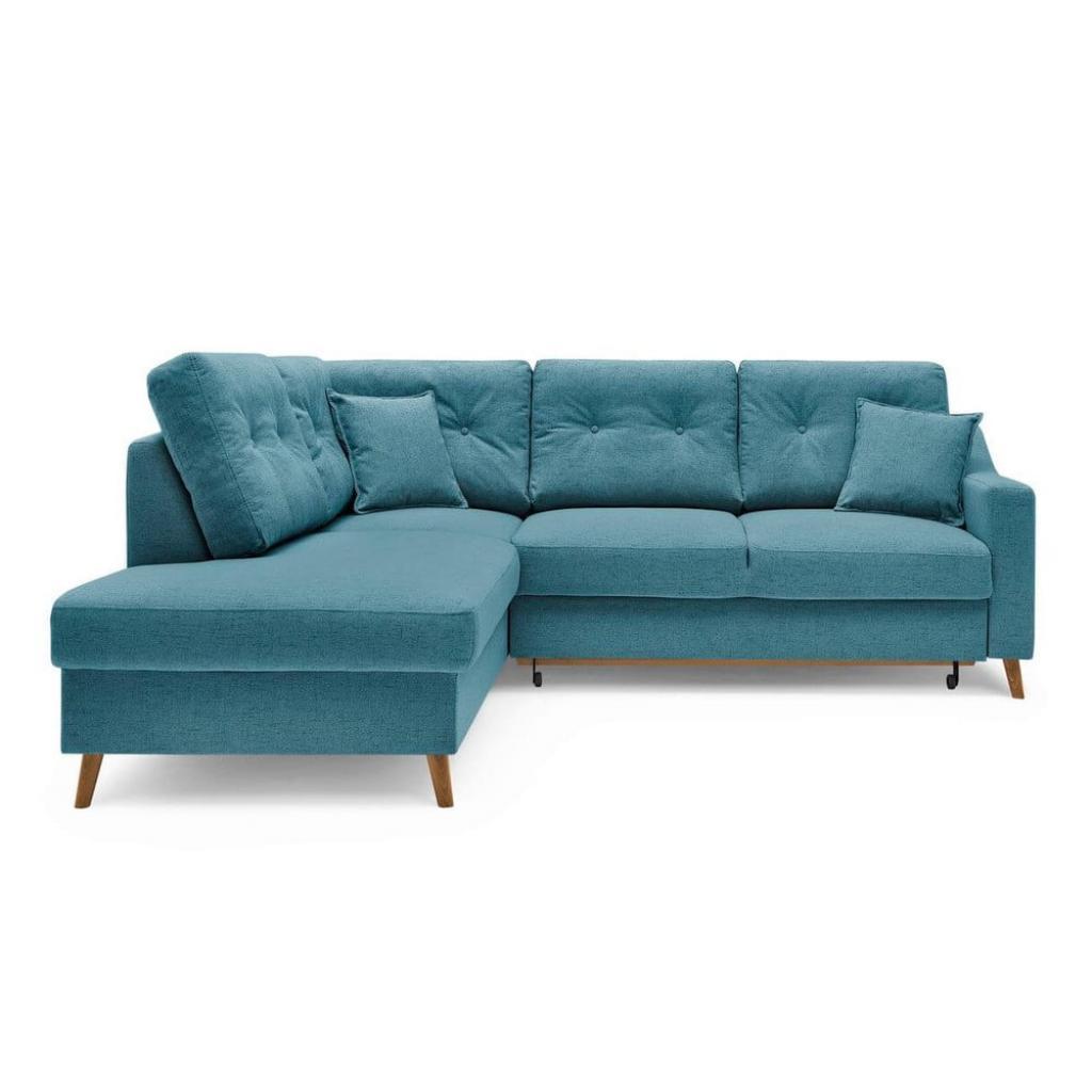 Produktové foto Tyrkysově modrá rozkládací rohová pohovka Bobochic Paris Sweden, levý roh, 234 cm