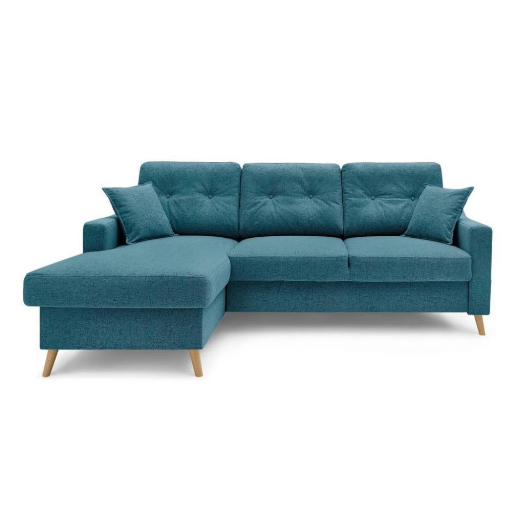 Produktové foto Tyrkysově modrá rozkládací rohová pohovka s úložným prostorem Bobochic Paris Sweden, levý roh, 224 cm