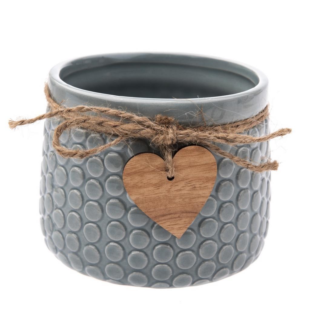 Produktové foto Keramický obal na květináč Heart, šedá, 11 x 8,8 x 8 cm
