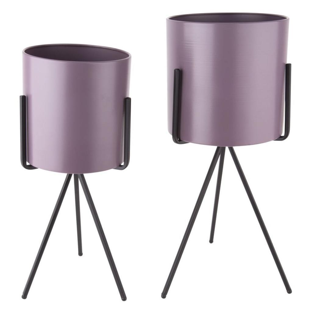 Produktové foto Sada 2 fialových železných květináčů na podstavci PT LIVING