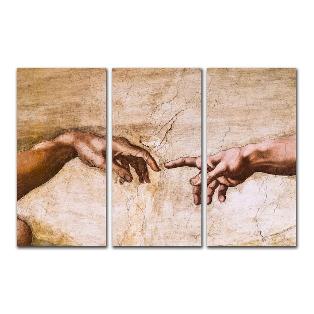 Produktové foto 3dílná reprodukce obrazu Michelangelo Buonarroti - Creation of Adam