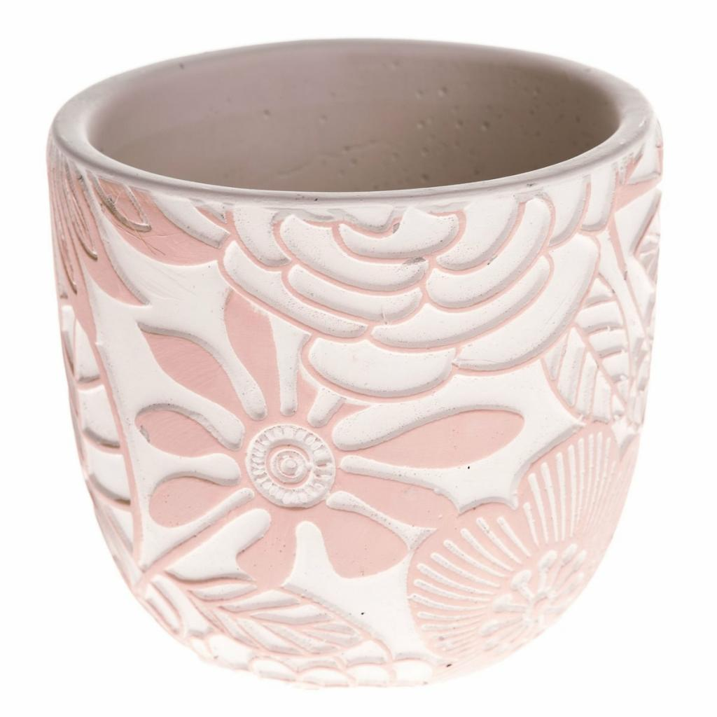 Produktové foto Betonový obal na květináč Flower ,růžová, 17,5 x 16 x 17,5 cm