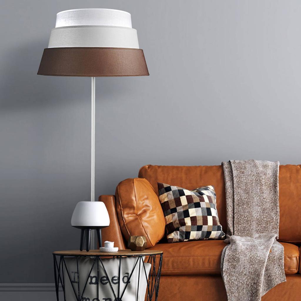 Produktové foto DUOLLA Stojací lampa Piramida, hnědá/šedá/bílá