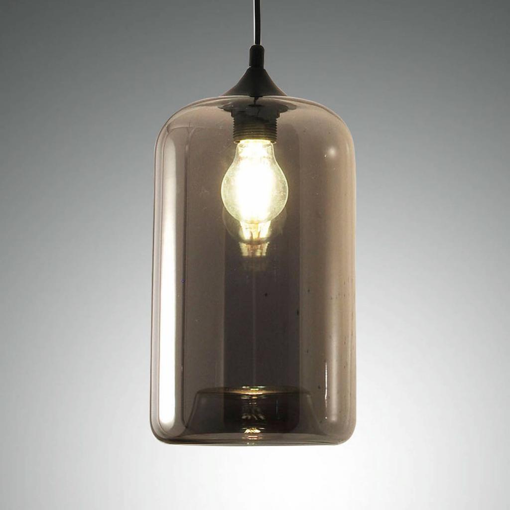 Produktové foto Fabas Luce Závěsné světlo Silo ze skla, kouřově šedá