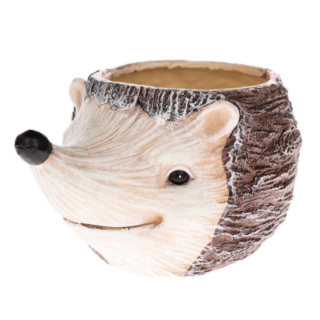 Produktové foto Keramický květináč ve tvaru ježka, výška 13,5 cm