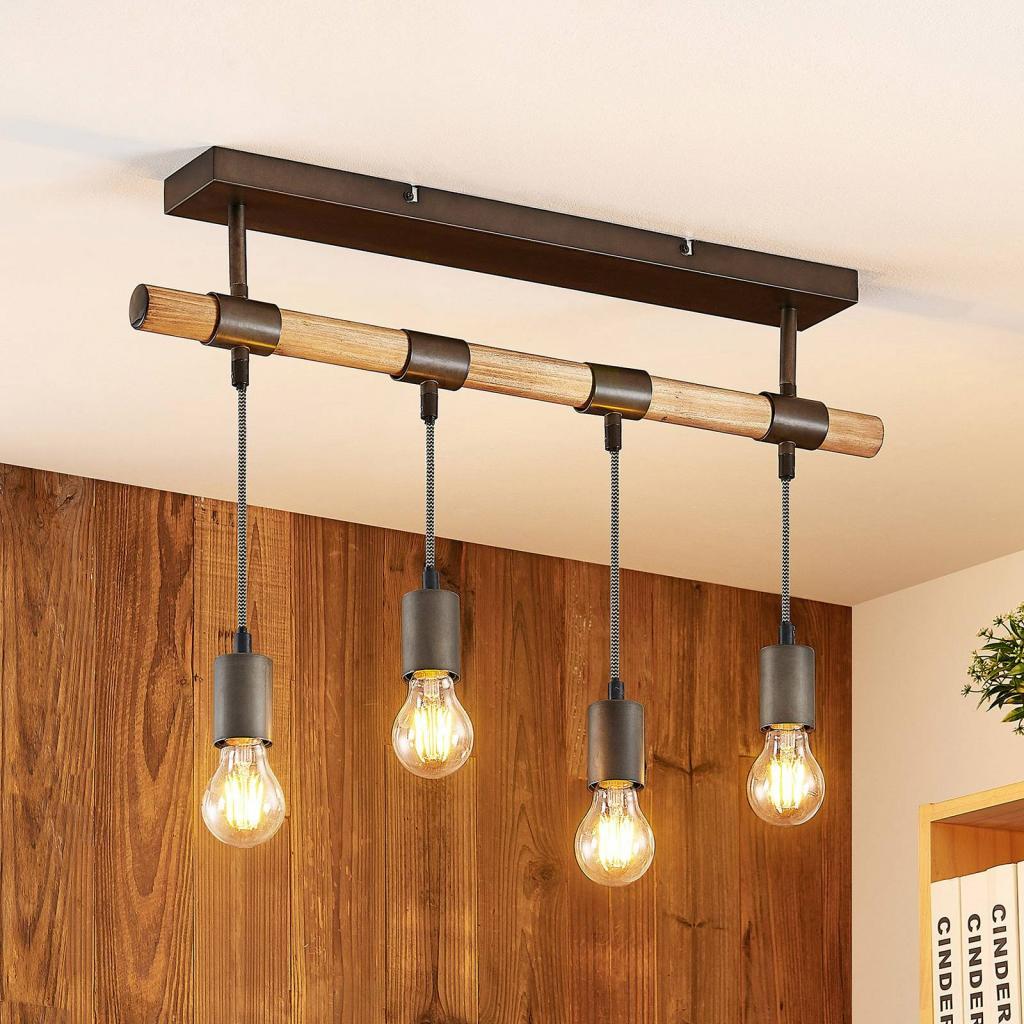 Produktové foto Lindby Lindby Wasina stropní světlo ze dřeva a kovu