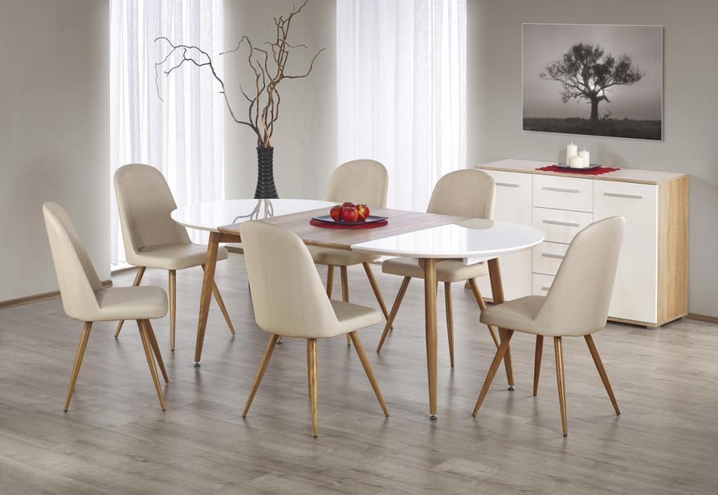 Produktové foto Halmar Oválný rozkládací jídelní stůl Edward bílý/dub medový