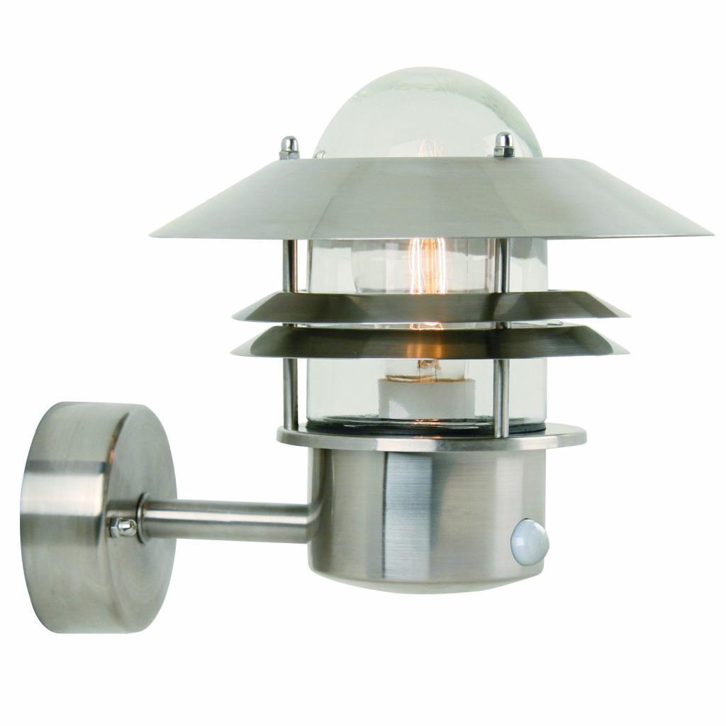 Produktové foto Nordlux 25011034 Blokhus Up Sensor, venkovní nástěnné svítidlo v severském designu, 1x60W, nerez, výška 23cm, IP54