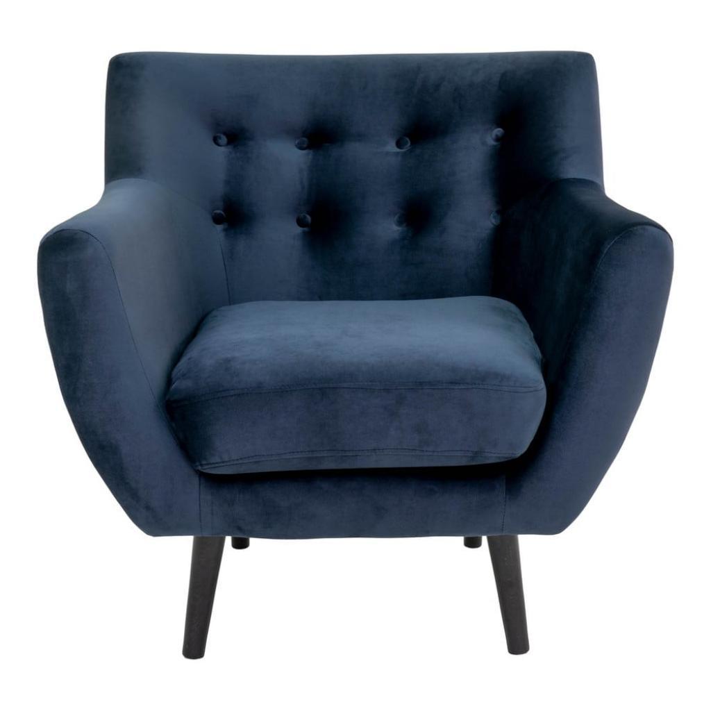 Produktové foto Tmavě modré sametové křeslo House Nordic Monte