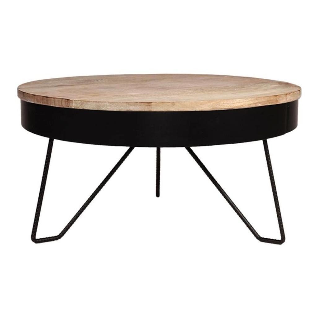 Produktové foto Černý konferenční stolek sdeskou zmangového dřeva LABEL51 Saran, ⌀80cm