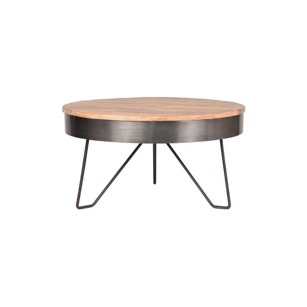 Produktové foto Šedý konferenční stolek sdeskou zmangového dřeva LABEL51 Saran, ⌀80cm
