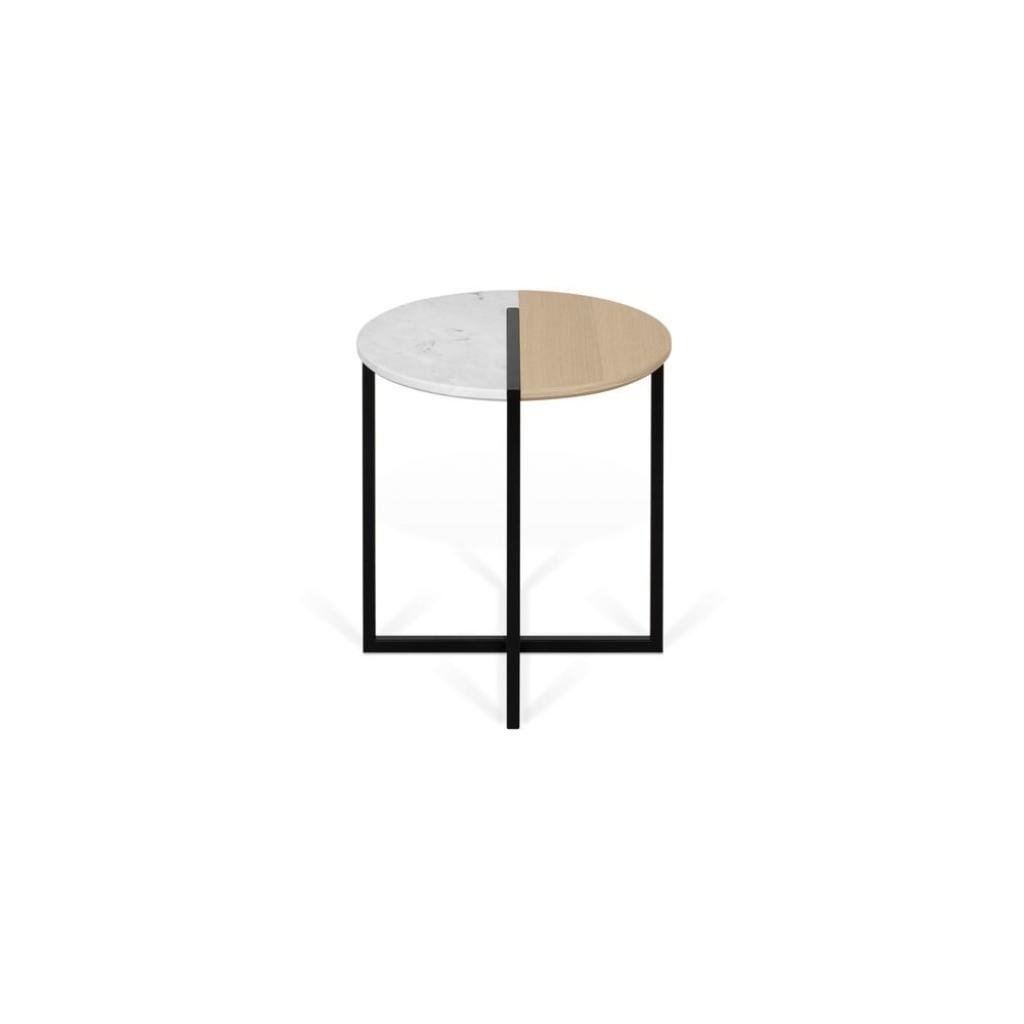 Produktové foto Odkládací stolek s deskou z dubového dřeva a mramoru TemaHome Sonata, ø 50 cm