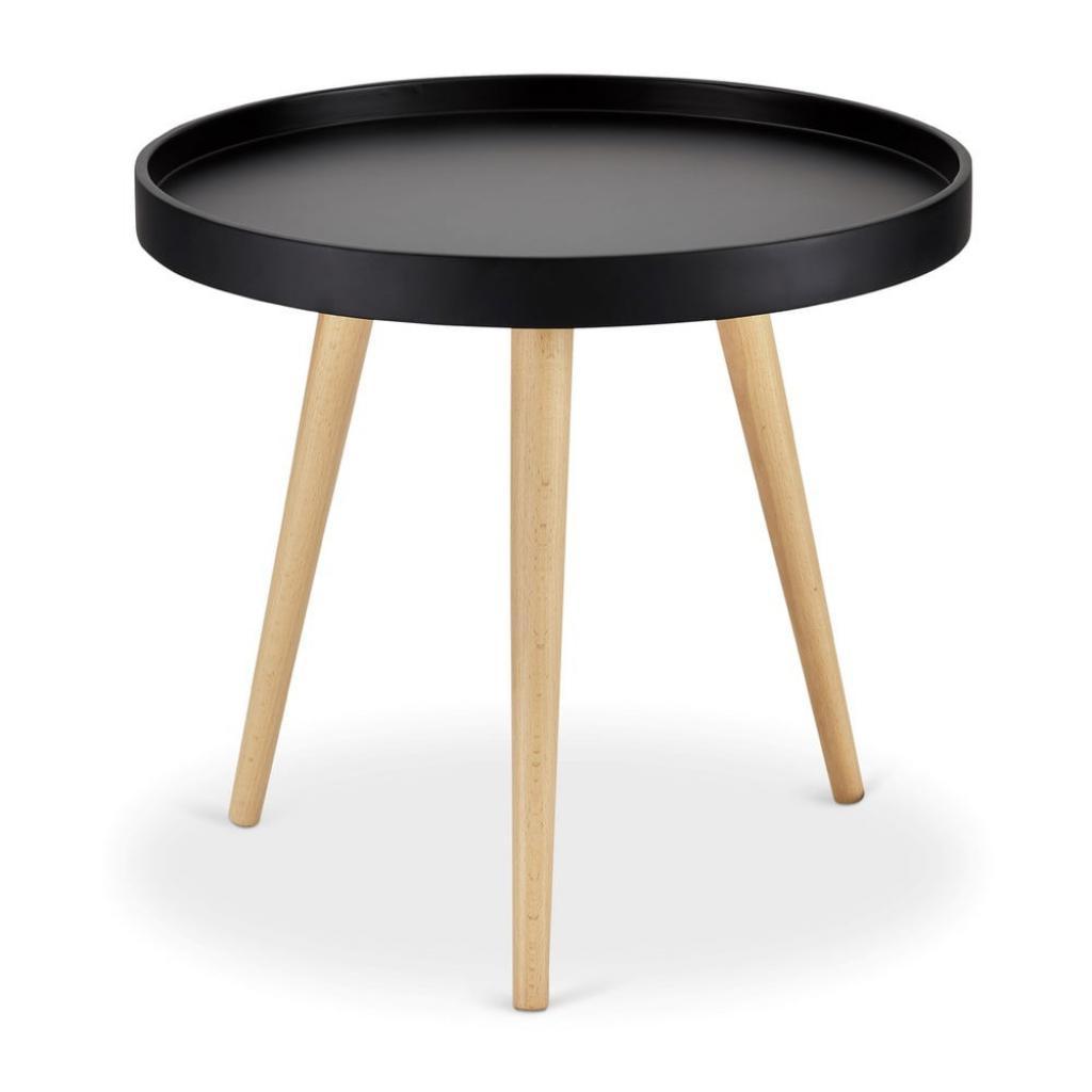 Produktové foto Černý odkládací stolek s nohami z bukového dřeva Furnhouse Opus, Ø50cm