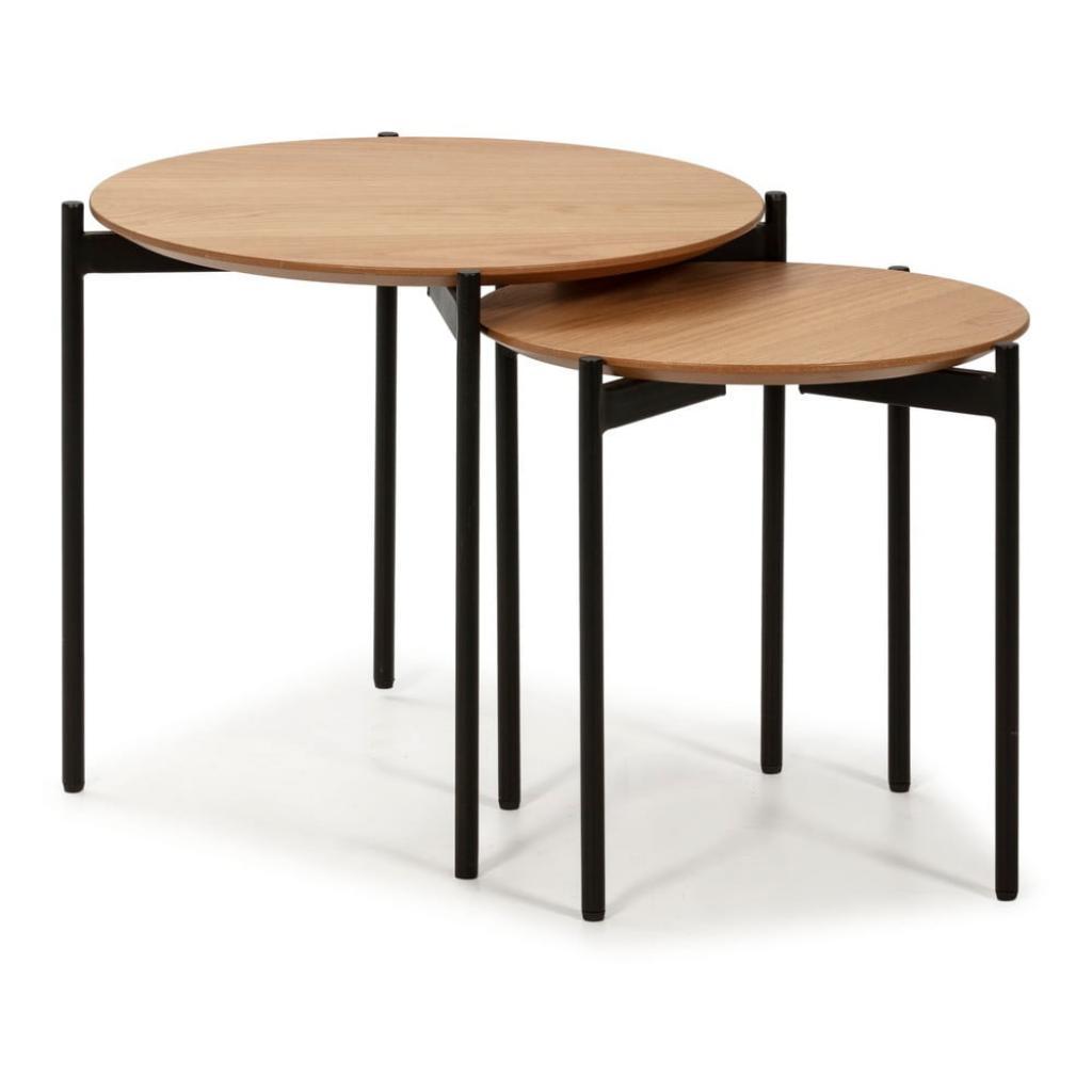 Produktové foto Sada 2 odkládacích stolků v dřevěném dekoru Marckeric Piera