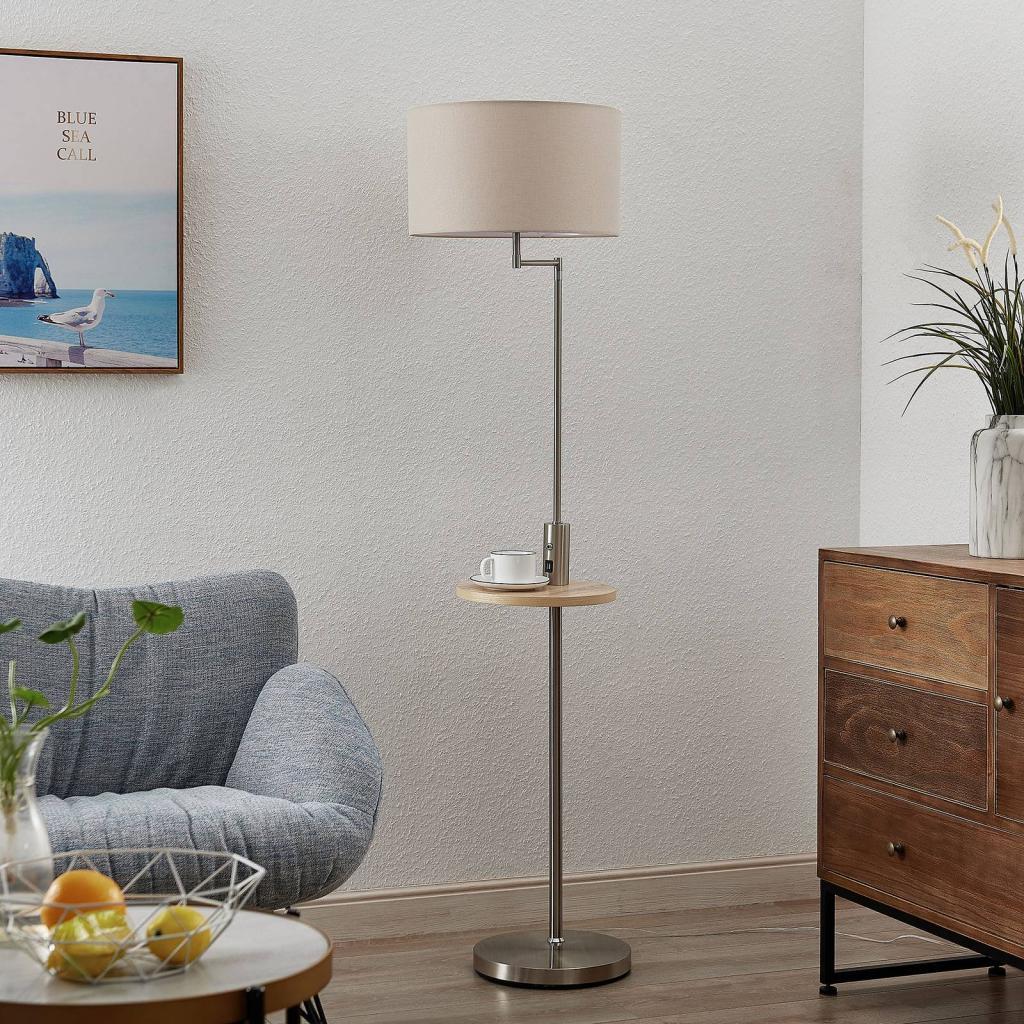 Produktové foto Lindby Lindby Zinia stojací lampa s poličkou a USB, nikl