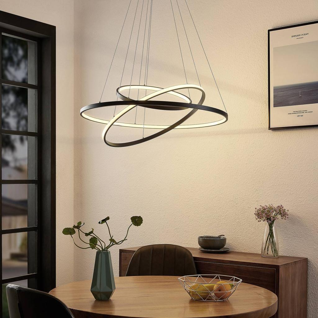 Produktové foto Lucande Lucande Filippa LED závěsné světlo se 3 kruhy