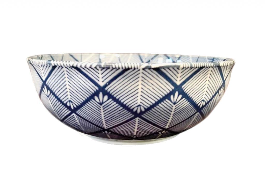 Produktové foto Miska Blue & White Cross Hatch Design 16 cm 650 ml MIJ