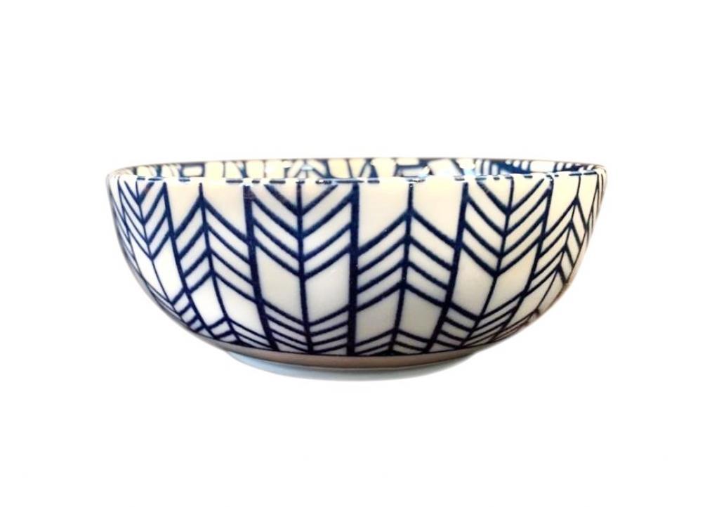 Produktové foto Miska Blue & White Feather Design 13 cm 370 ml MIJ