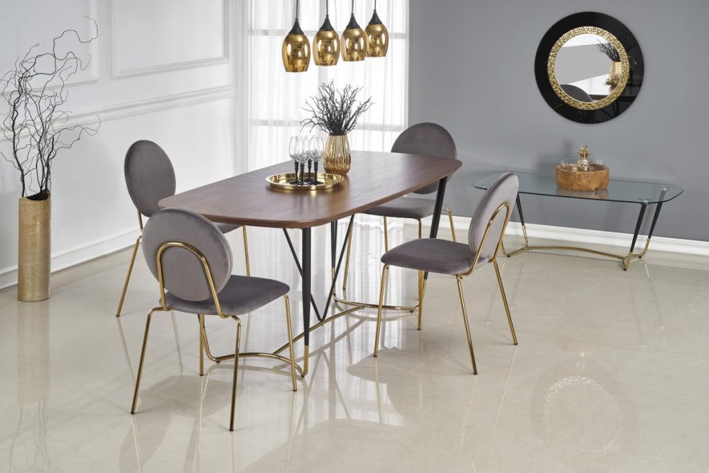 Produktové foto Halmar Jídelní stůl Manchester ořech černá/zlatá