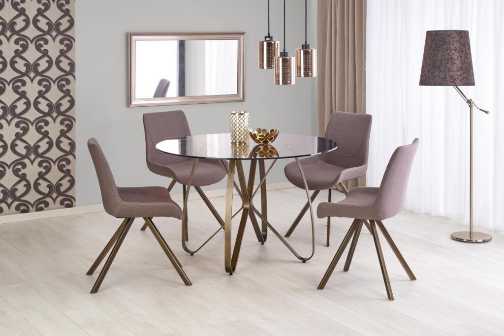 Produktové foto Halmar Kulatý jídelní stůl Lungo hnědý/anticky zlatý