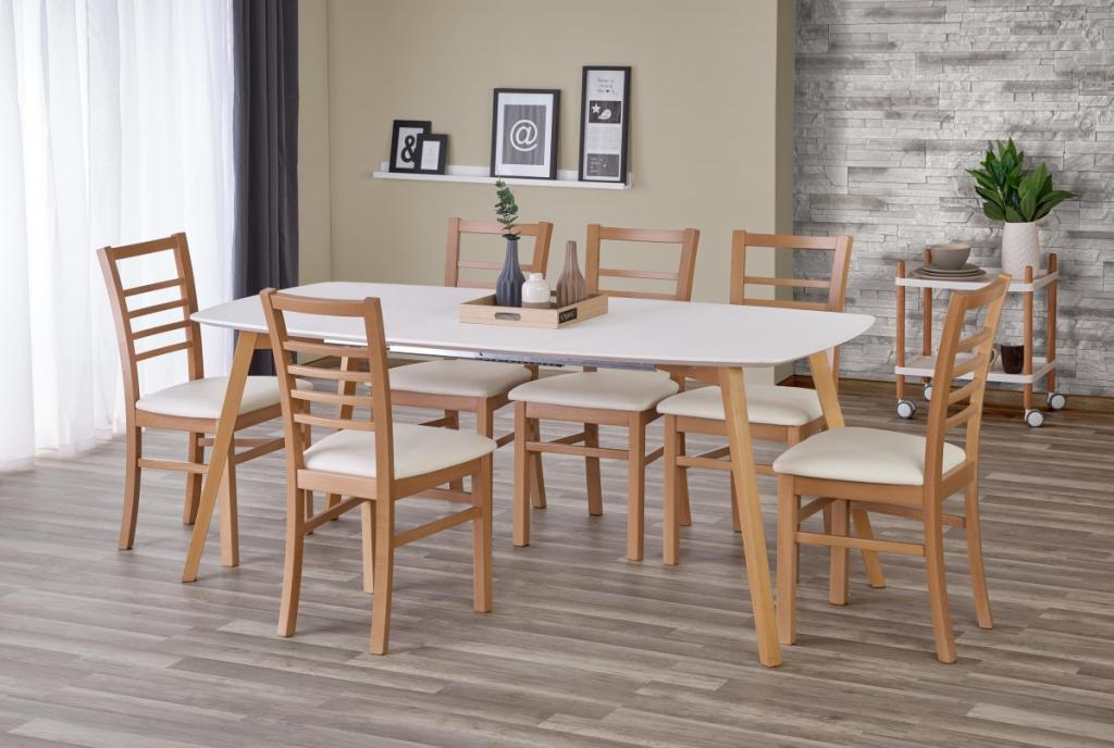 Produktové foto Halmar Rozkládací jídelní stůl Kajetan 135/185 bílý/dub medový
