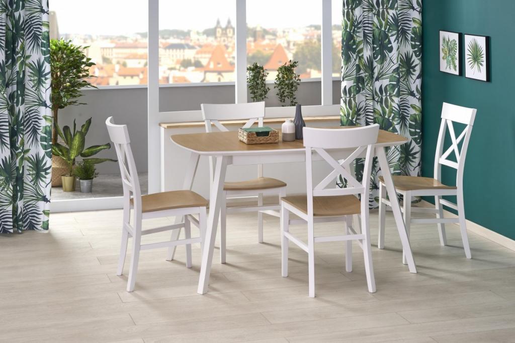 Produktové foto Halmar Rozkládací jídelní stůl Kajetan2 135/185 dub medový/bílá