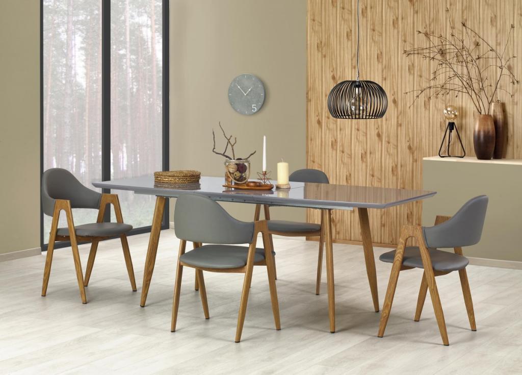 Produktové foto Halmar Rozkládací jídelní stůl Ruben šedý/dub medový