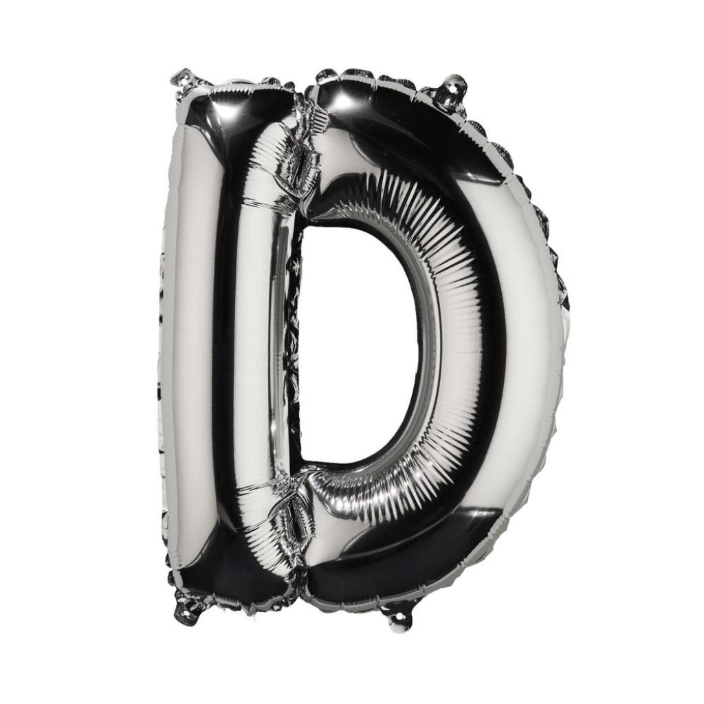 "Produktové foto UPPER CLASS Fóliový balónek ""D"" - stříbrná"