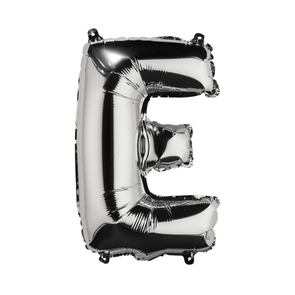 "Produktové foto UPPER CLASS Fóliový balónek ""E"" - stříbrná"