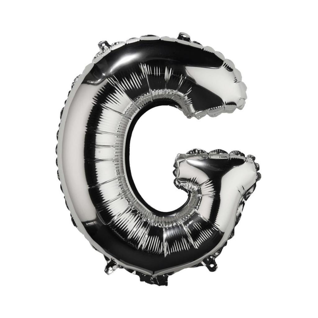 "Produktové foto UPPER CLASS Fóliový balónek ""G"" - stříbrná"