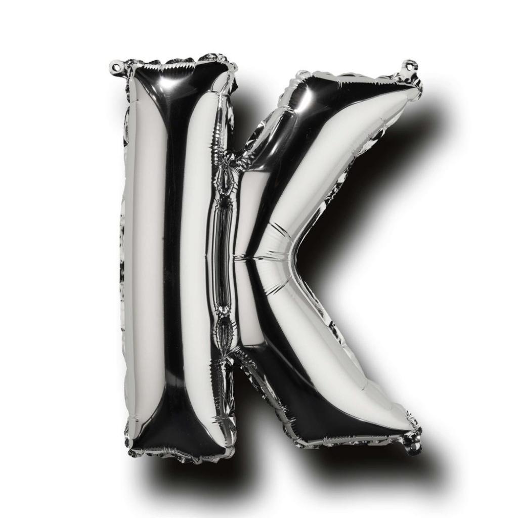 """Produktové foto UPPER CLASS Fóliový balónek """"K"""" - stříbrná"""