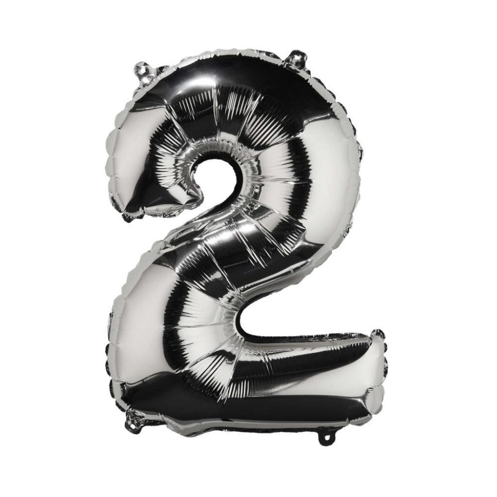 "Produktové foto UPPER CLASS Fóliový balónek ""2"" - stříbrná"