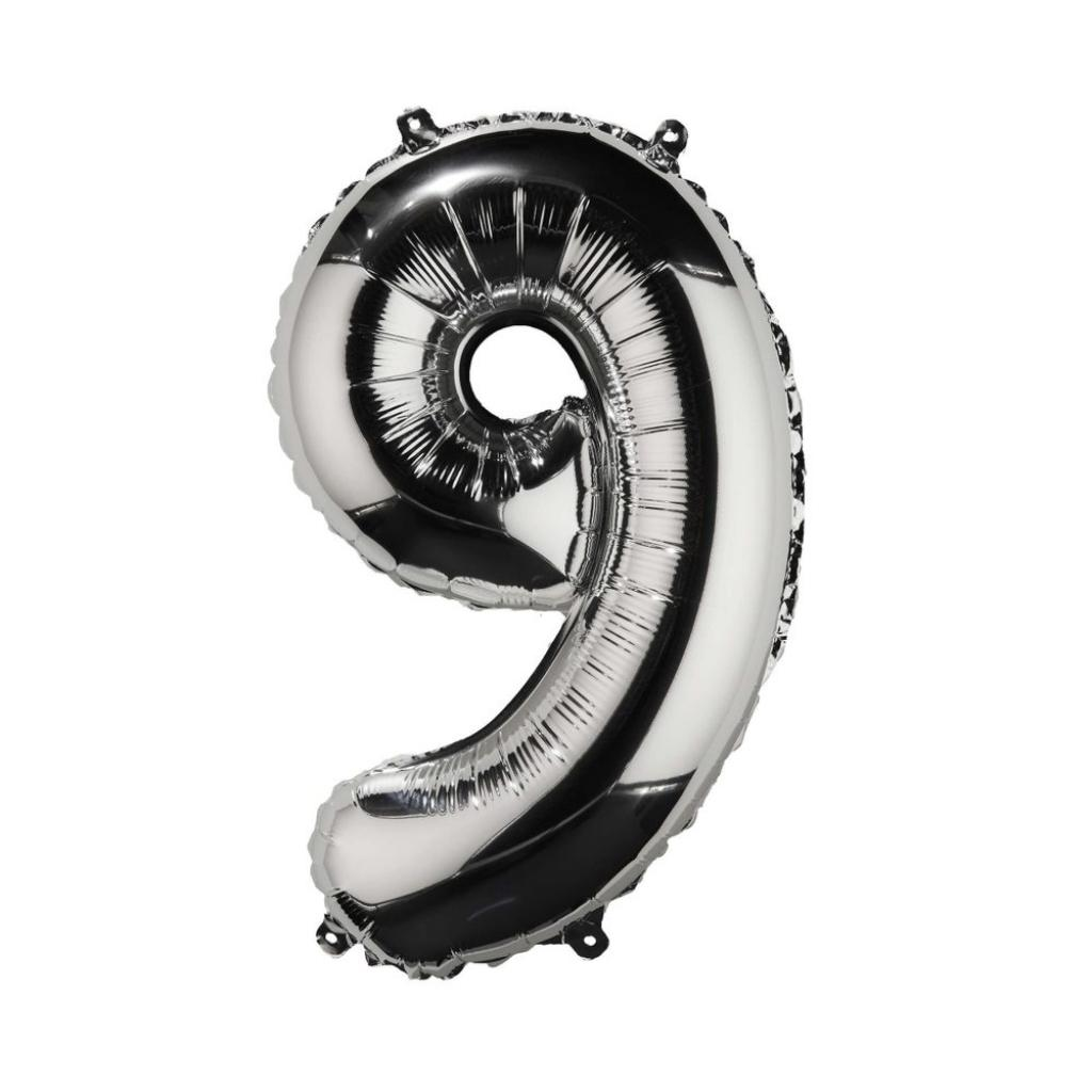 "Produktové foto UPPER CLASS Fóliový balónek ""9"" - stříbrná"