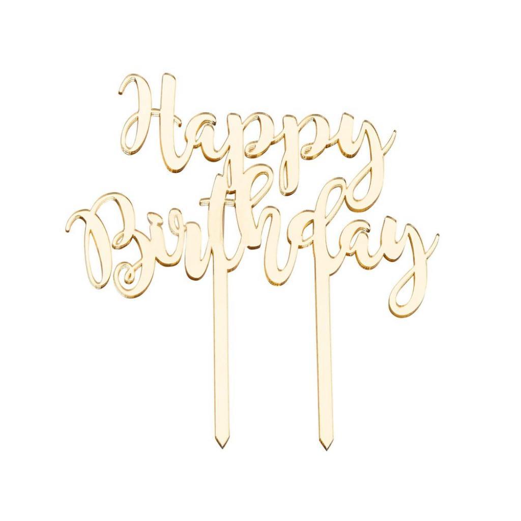 """Produktové foto CELEBRATION Dekorace na dort """"Happy Birthday"""" - zlatá"""