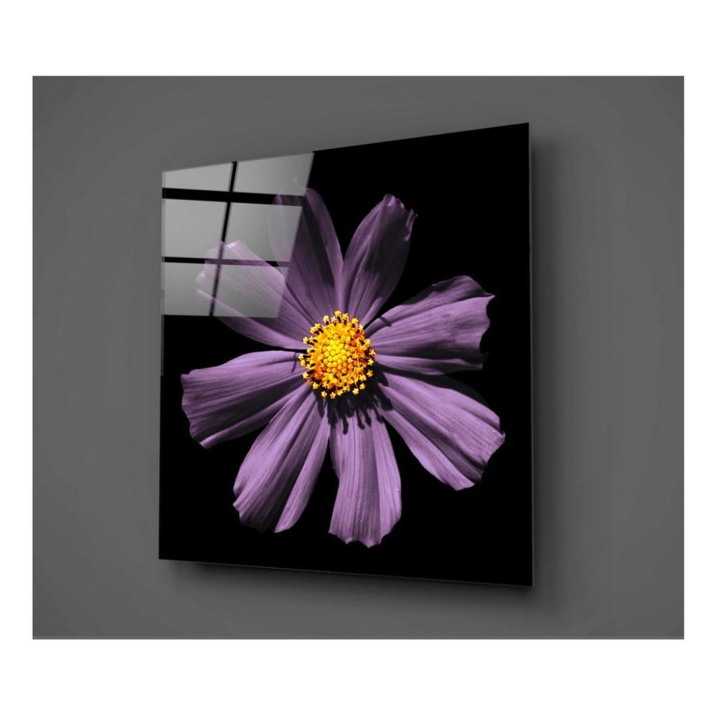 Produktové foto Černo-fialový skleněný obraz Insigne Flowerina, 30x30cm
