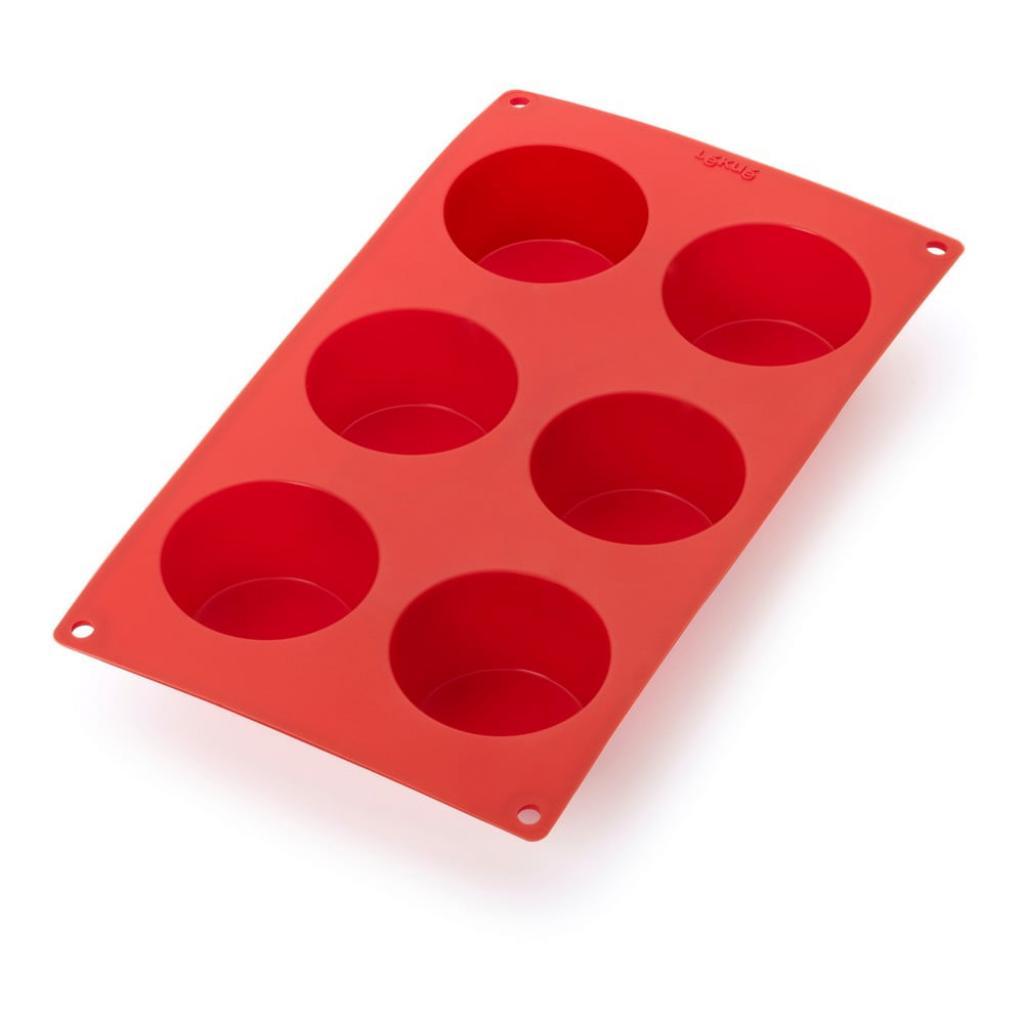 Produktové foto Červená silikonová forma na 6 mini muffinů Lékué