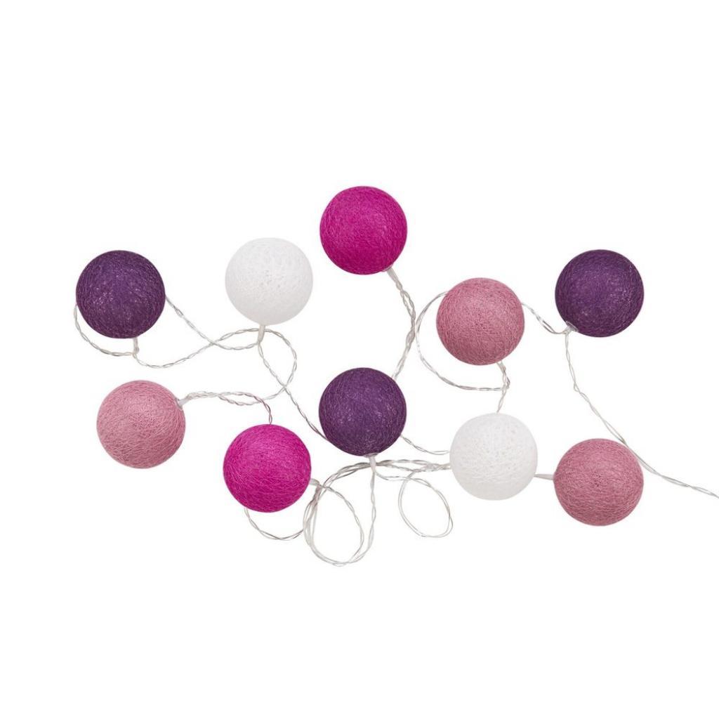 Produktové foto LES BELLES Světelný řetěz 10 koulí - růžová/fialová/bílá