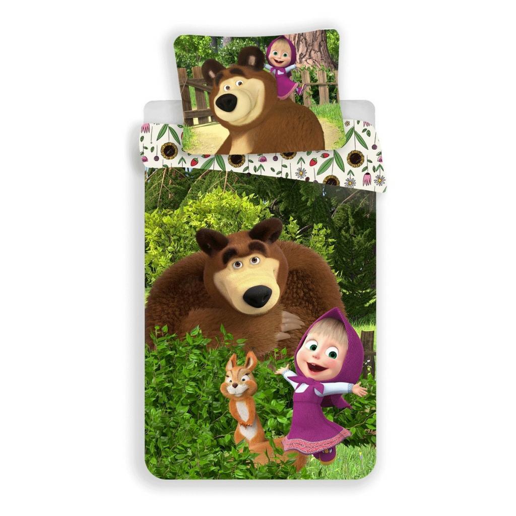 Produktové foto Jerry Fabrics Dětské bavlněné povlečení Máša a Medvěd Flowers, 140 x 200 cm, 70 x 90 cm