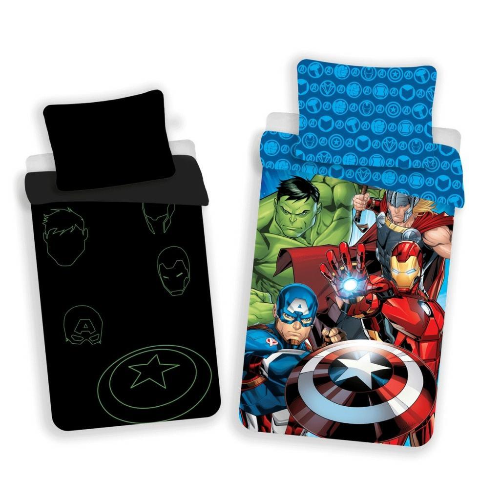 Produktové foto Jerry Fabrics Dětské bavlněné povlečení Avengers 02 svíticí, 140 x 200 cm, 70 x 90 cm