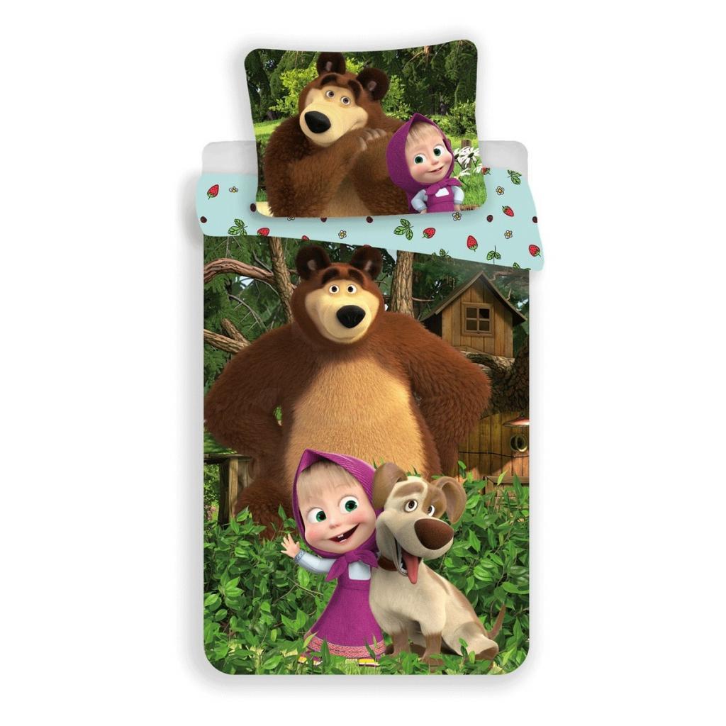 Produktové foto Jerry Fabrics Dětské bavlněné povlečení Máša a medvěd Strawberry, 140 x 200 cm, 70 x 90 cm