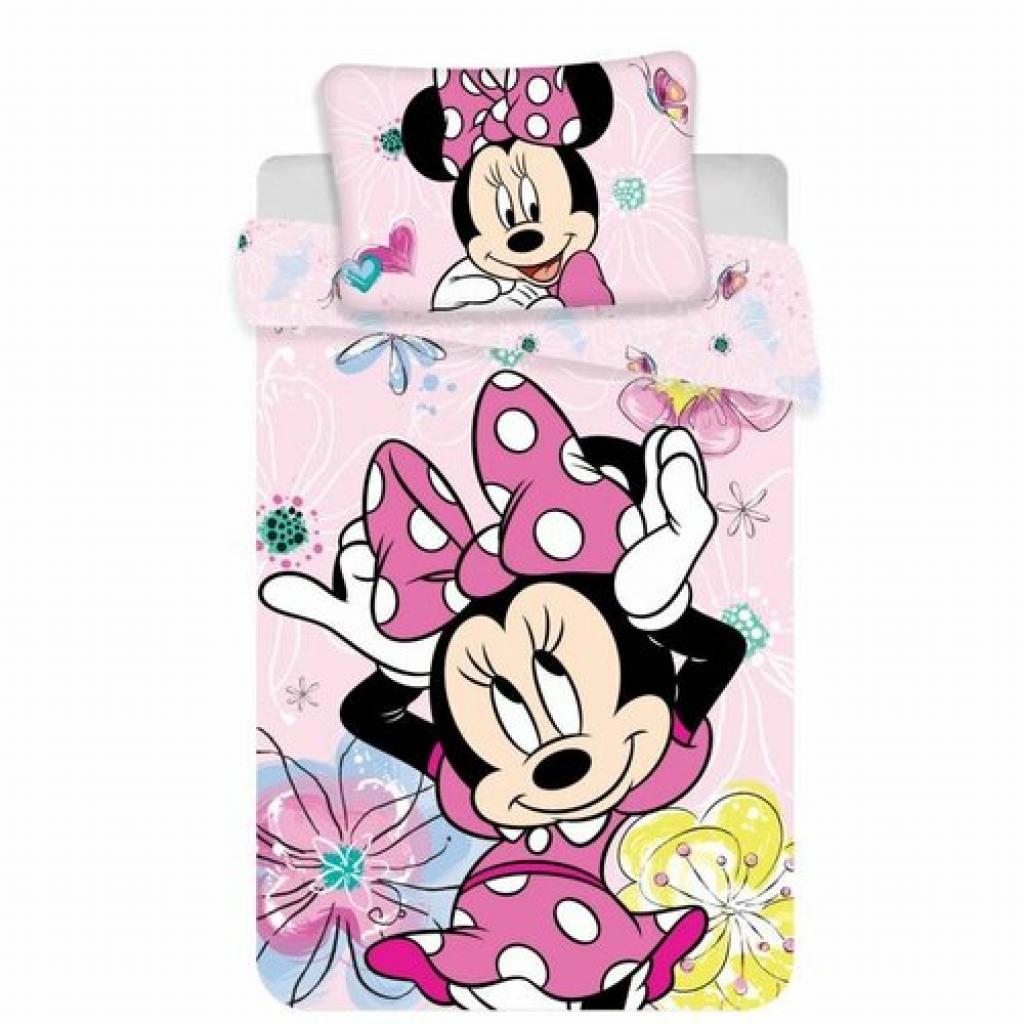 Produktové foto Jerry Fabrics Dětské bavlněné povlečení do postýlky Minnie butterfly 02 baby, 100 x 135 cm, 40 x 60 cm