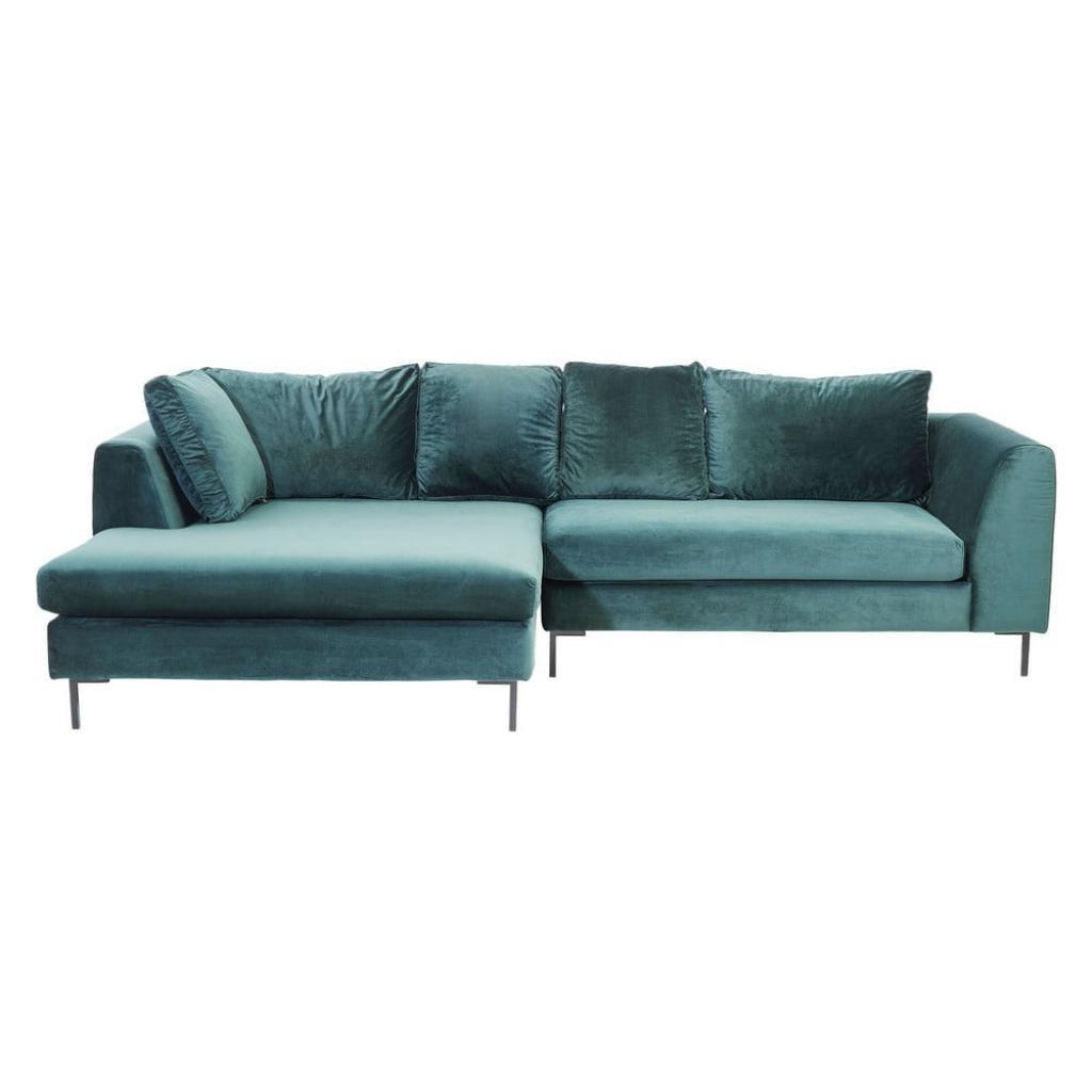 Produktové foto Tyrkysově modrá sametová rohová pohovka Kare Design Gianni, levý roh