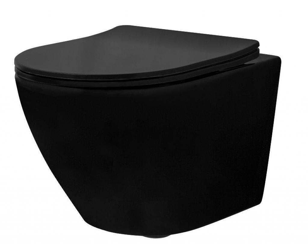 Produktové foto Závěsná WC mísa Rea Carlo Mini Rimless Flat černá matná