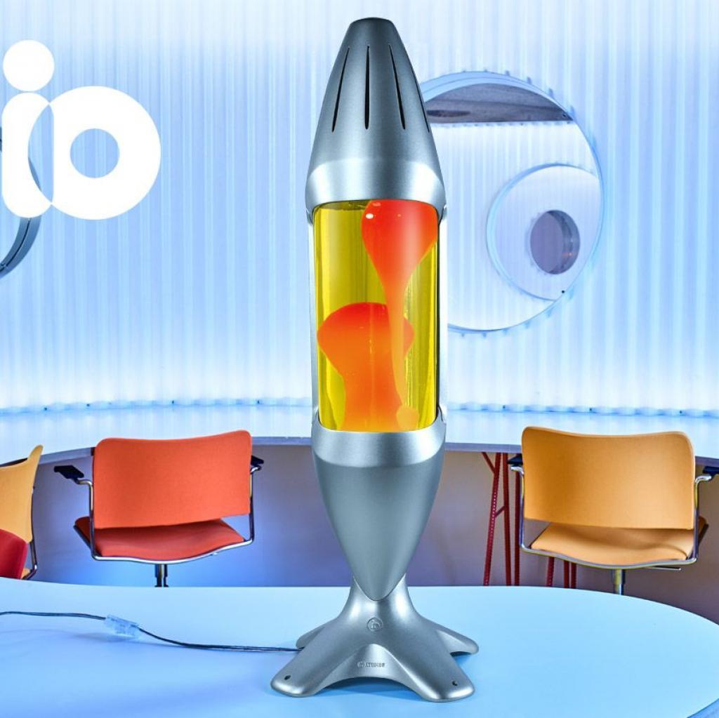 Produktové foto Mathmos iO Giant Silver, originální lávová lampa, matně černá se žlutou tekutinou a oranžovou lávou, výška 78cm