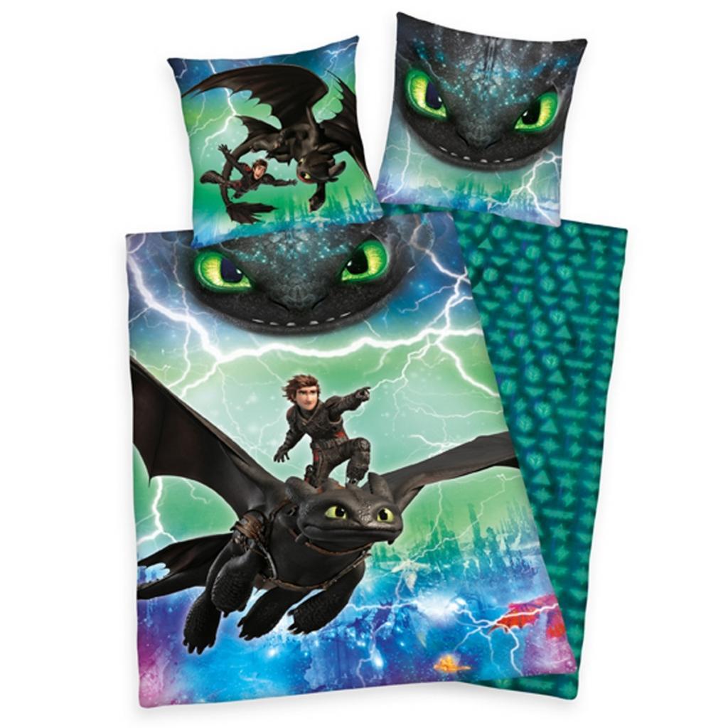 Produktové foto Herding Dětské bavlněné povlečení Dragons, 140 x 200 cm, 70 x 90 cm