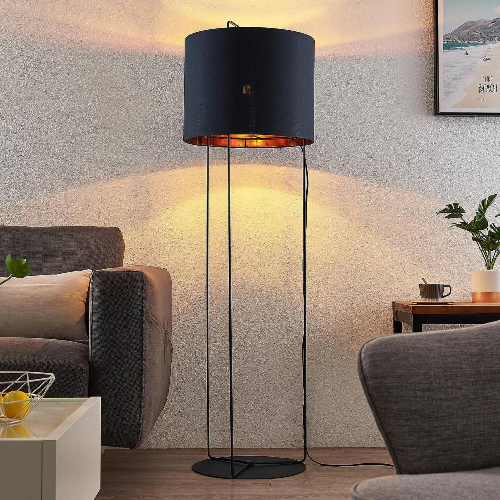 Produktové foto Lindby Lindby Kesta stojací lampa látka podstavec 3 tyče