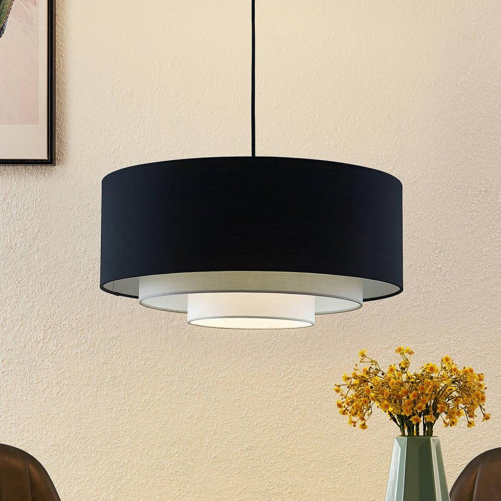Produktové foto Lindby Lindby Ailany látkové závěsné světlo, černá, šedá