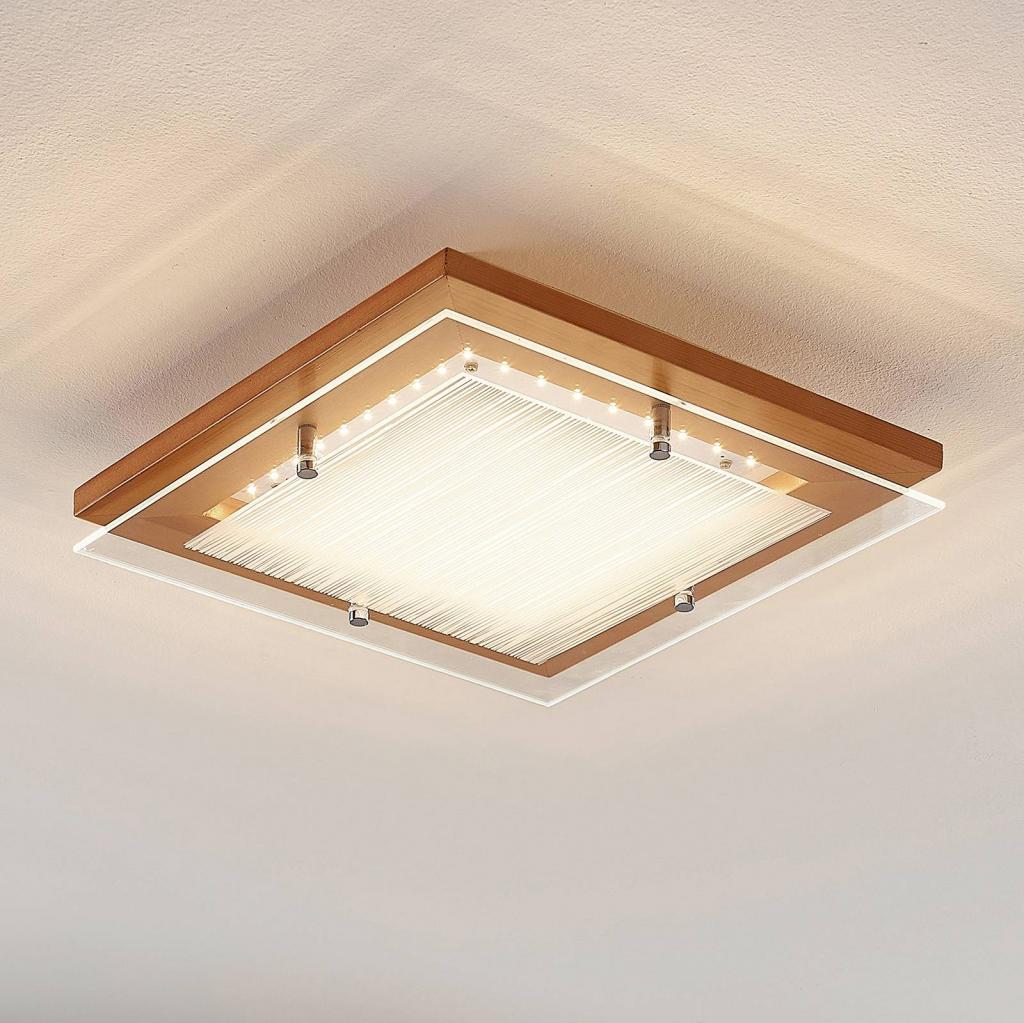 Produktové foto Lindby Dřevěné stropní LED svítidlo Cattleya, 32cm