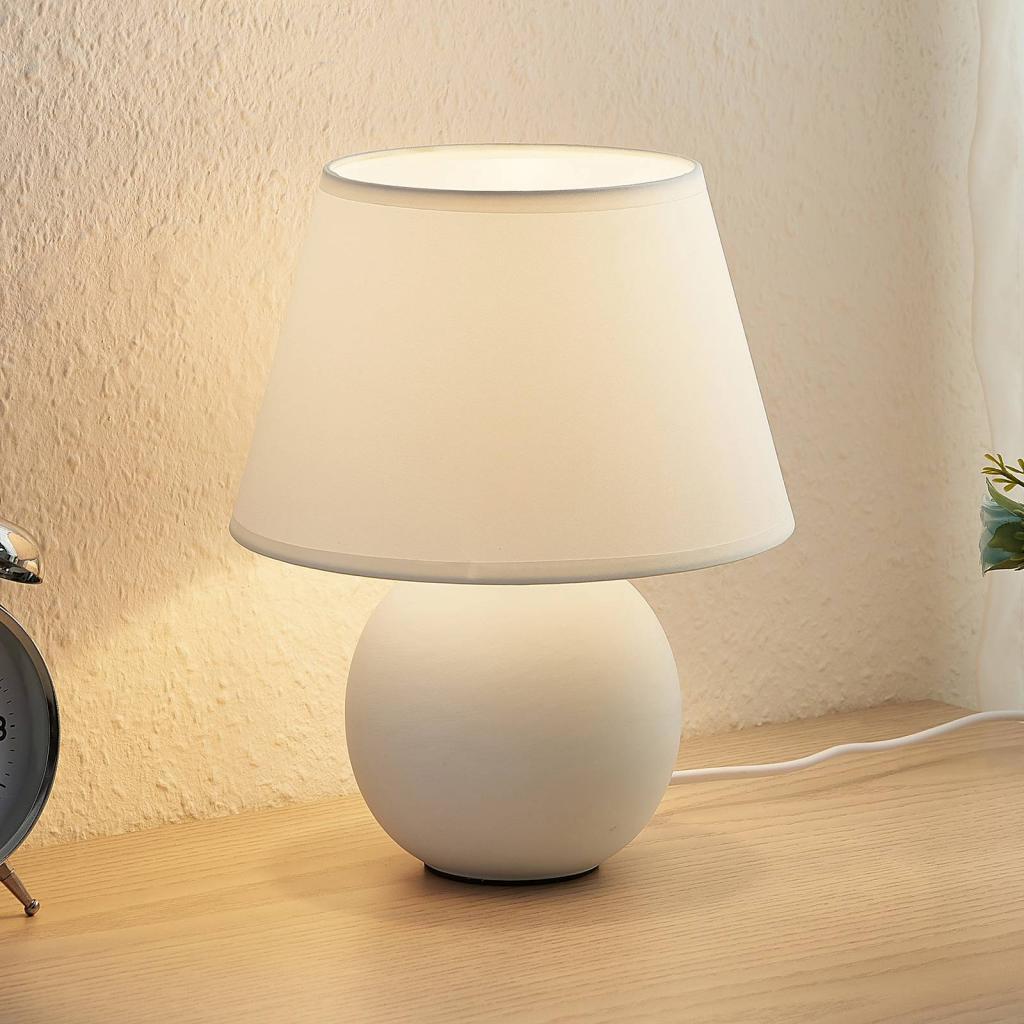 Produktové foto Lindby Lindby Calliota látková stolní lampa, kulatá, bílá
